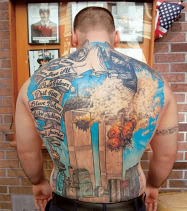 Full Back Firefighter Tattoo Art For Men