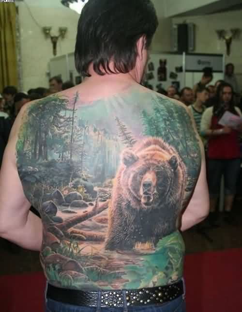 Full Back Forest Bear Tattoo For Men