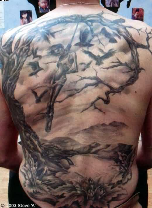Full Back Horror Tree Tattoo