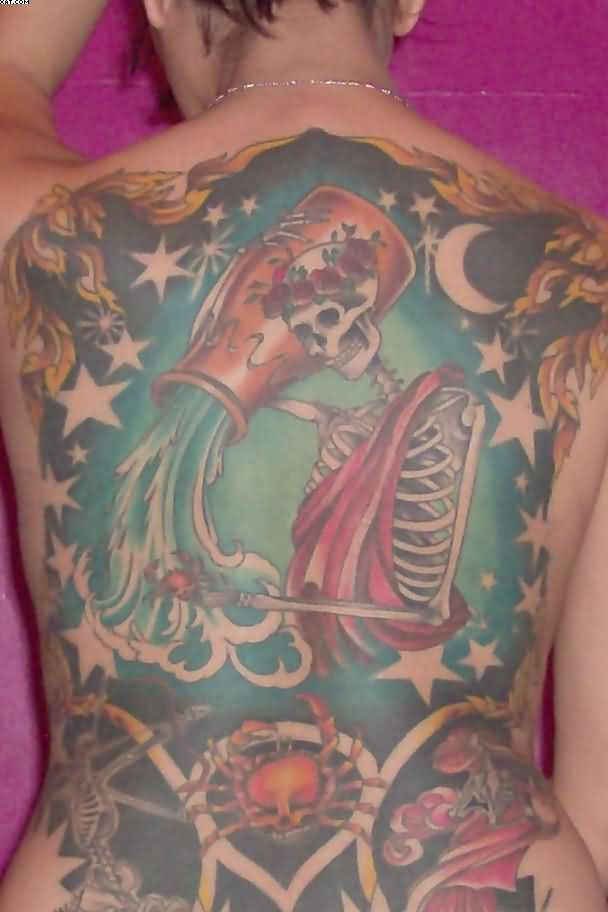 Full Back Skeleton Aquarius Tattoo Design