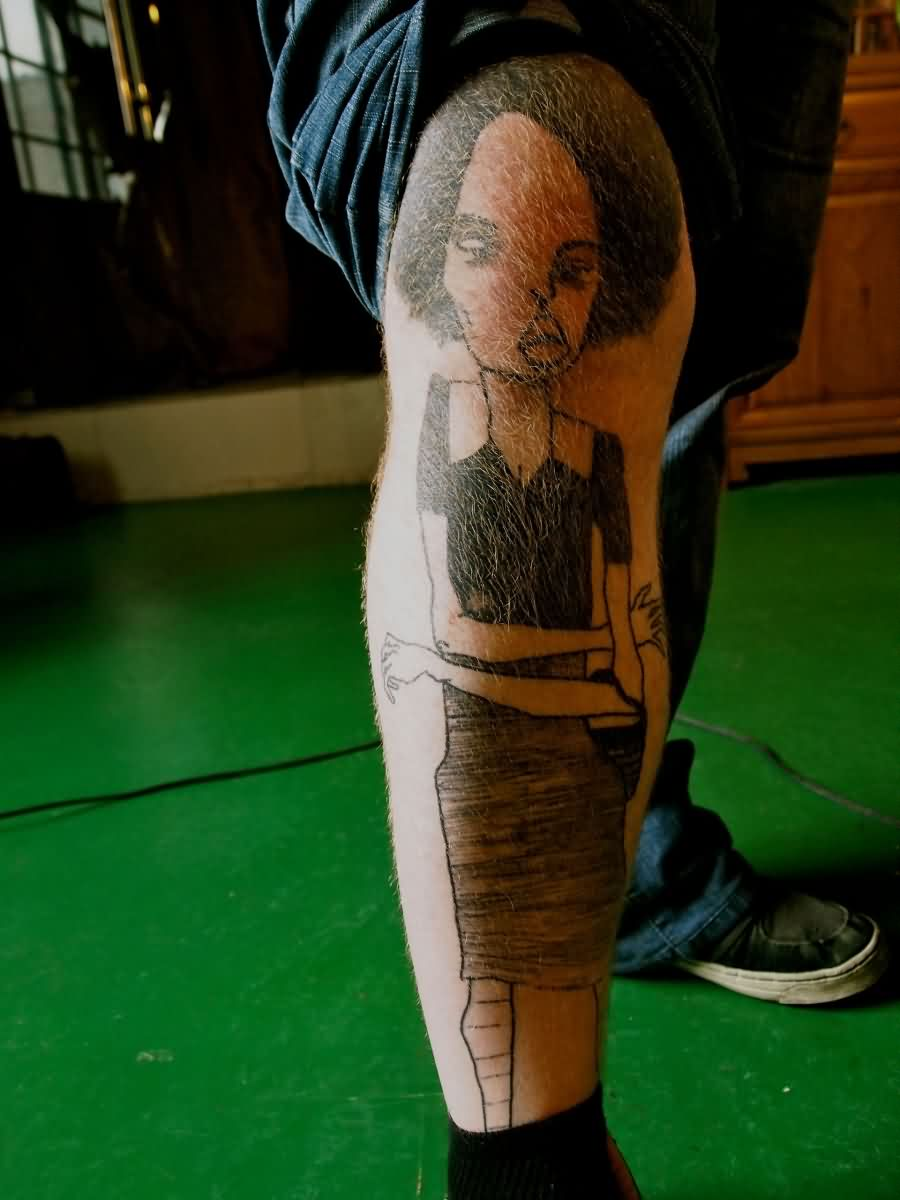 Funky Girl Tattoo On Right Leg