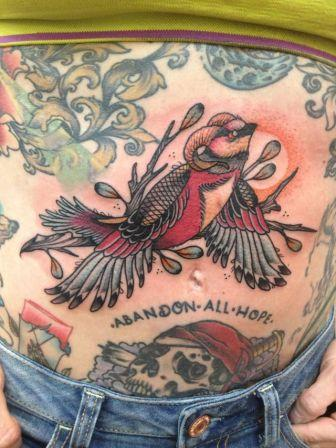 Funny Bird Tattoo On Belly