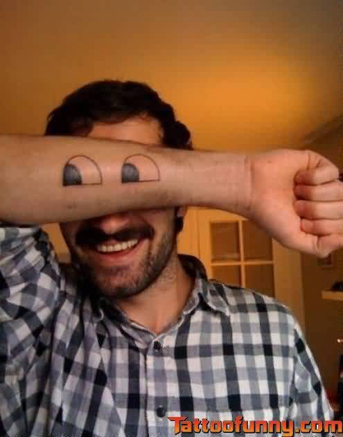 Funny Eyes Tattoos On Arm For Men