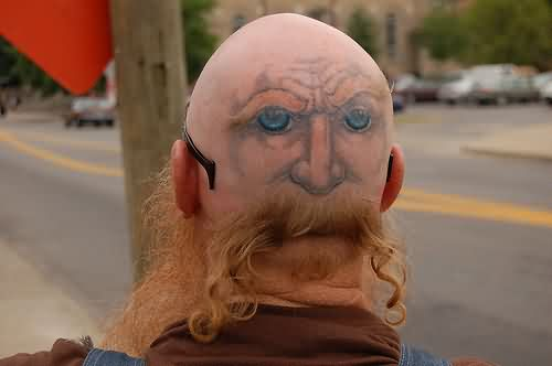 Funny Eyes Tattoos On Back Of Head