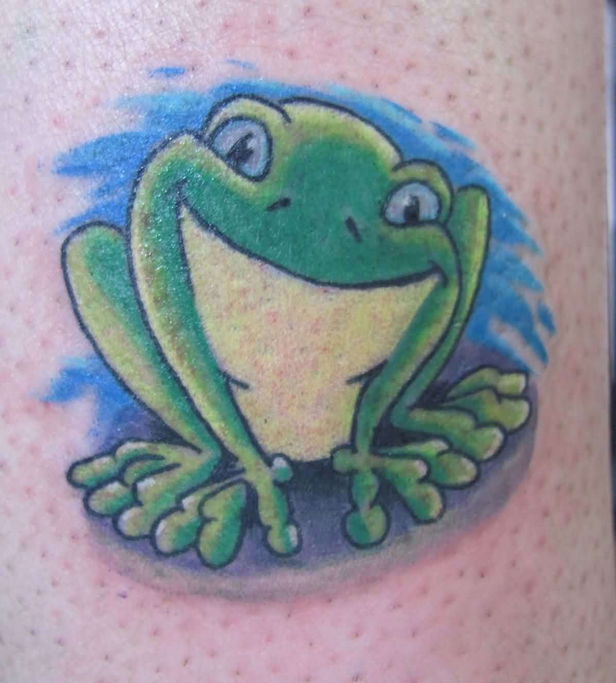 Funny Green Frog Tattoo