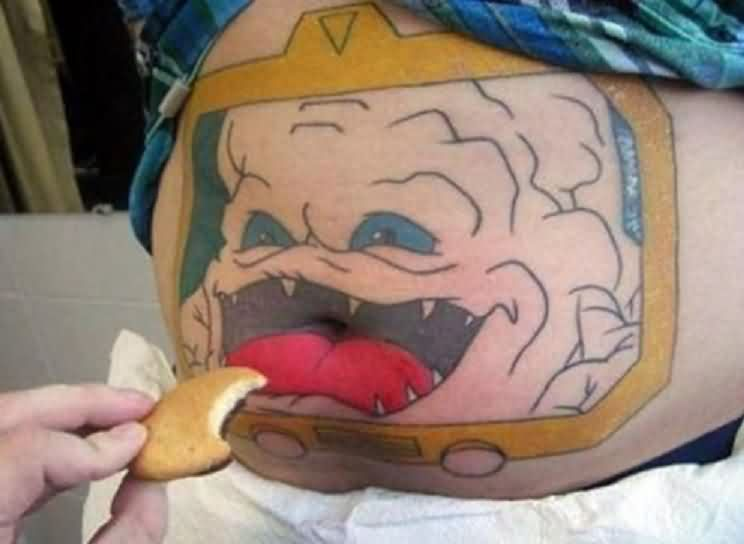 Funny Krang Tattoo On Belly