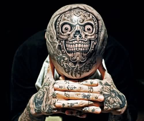 Funny Skull Tattoo On Scalp
