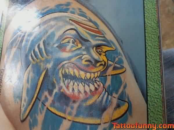 Funny Troll Shark Tattoo