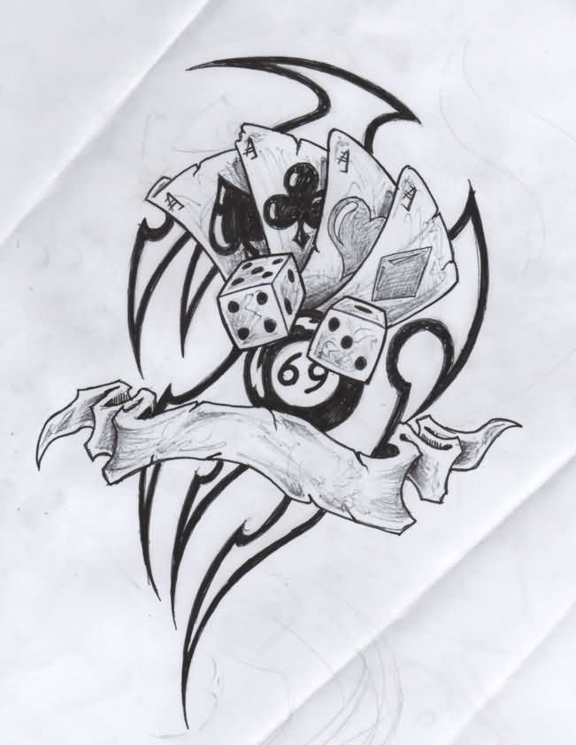 Gambling Cards Dice And 8 Ball Tattoo Drawing
