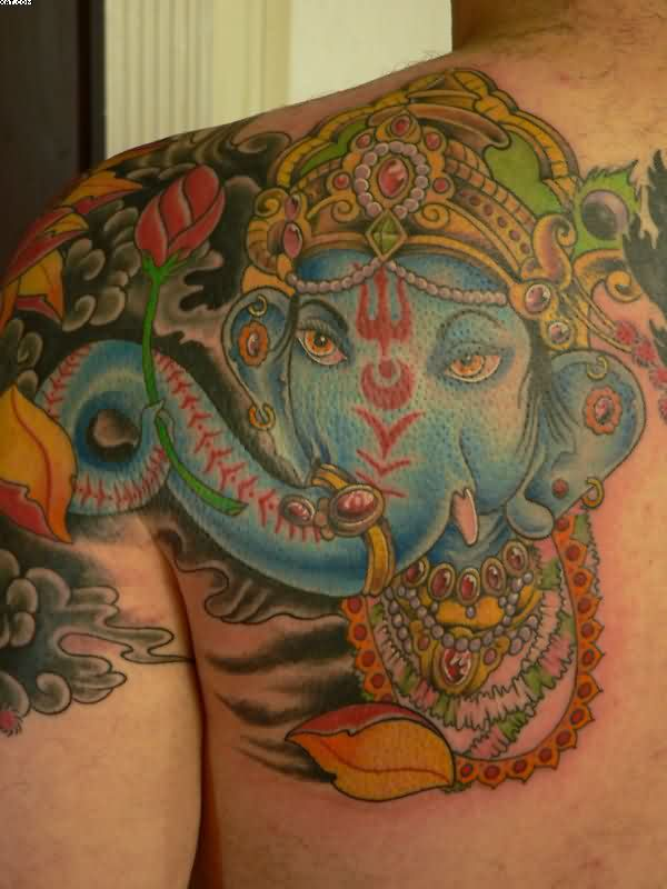 Ganesh Tattoo For Back Shoulder
