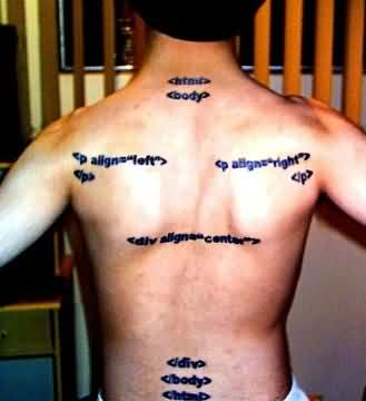 Geek Html Tattoos On Back Body