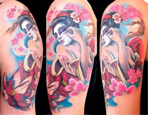 Geisha Pinup Tattoos On Arm