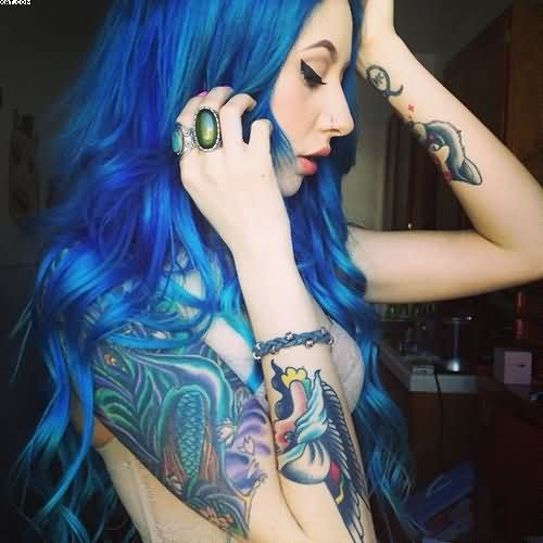 Girl With Blue Hair And Aqua Tattoo Designs