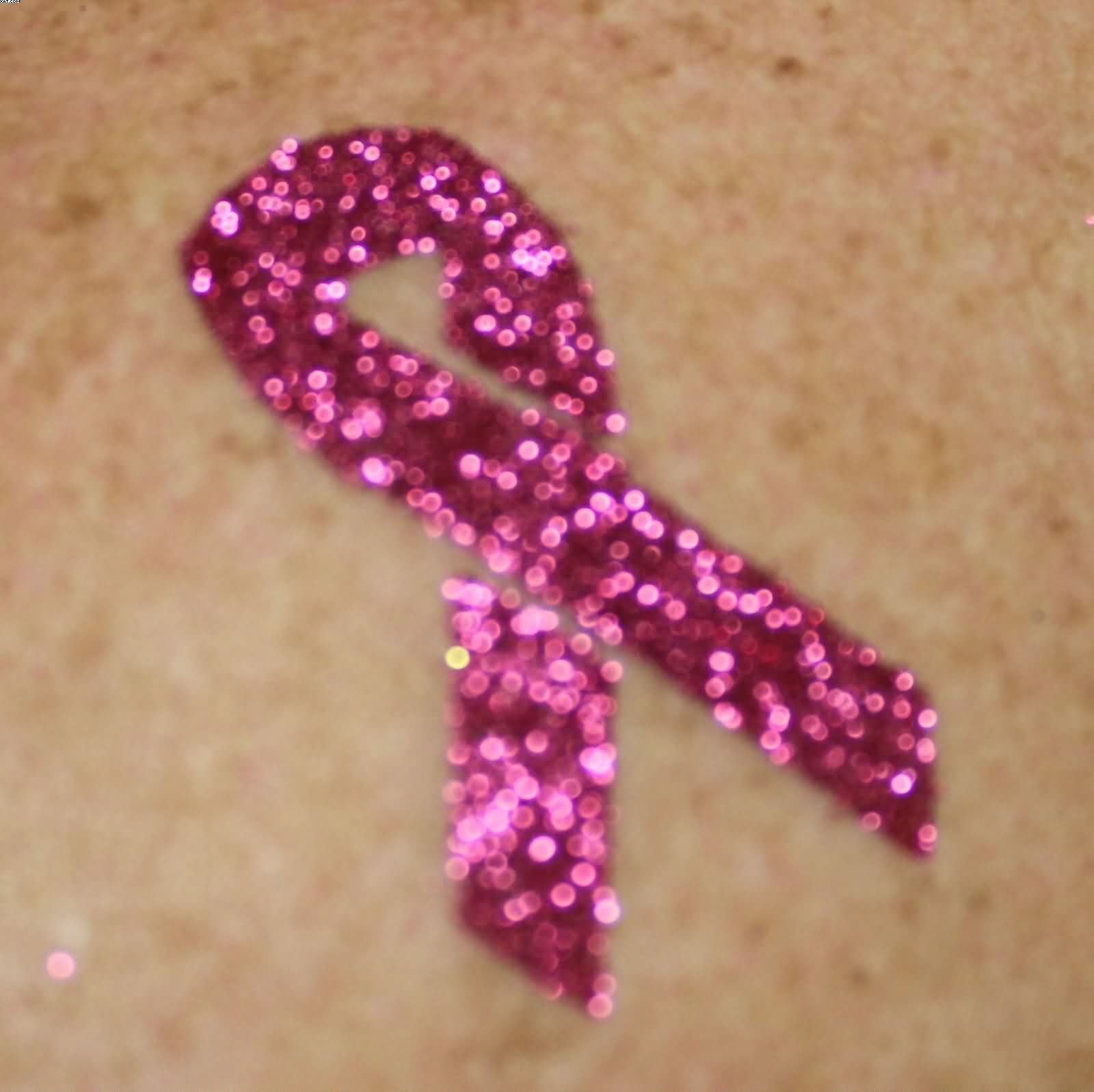 Glitter Breast Cancer Ribbon Tattoo