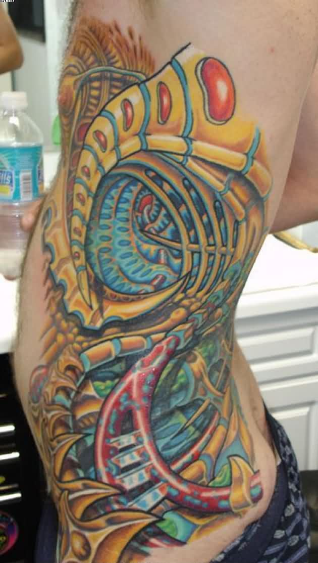 Gorgeous Biomechanical Tattoo On Rib Side