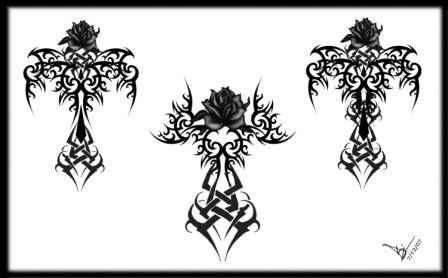 Gothic Tribal Rose Cross Tattoo Designs