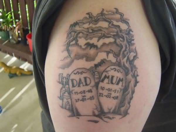 Graveyard Scene Tattoo On Right Shoulder