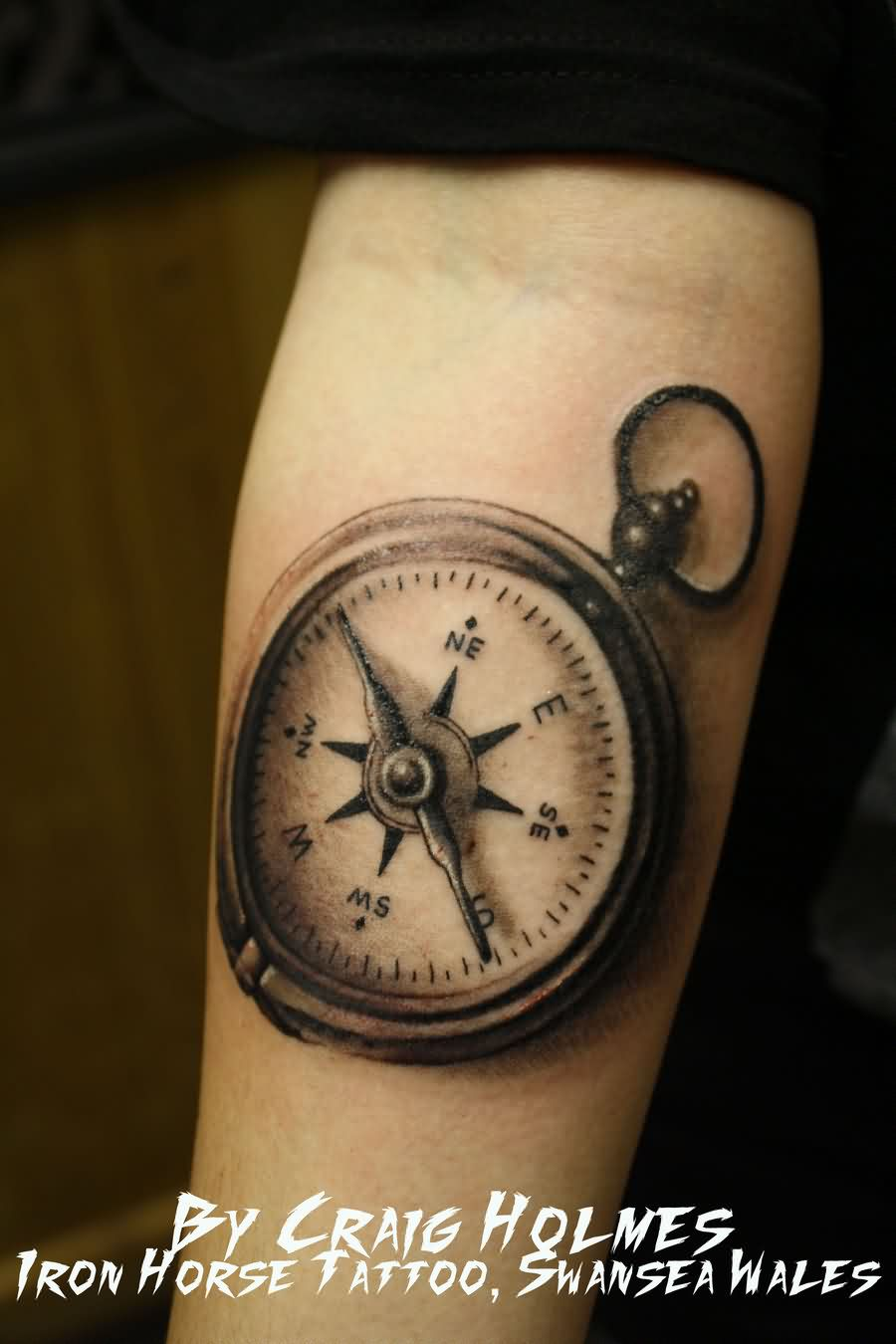 Great Compass Tattoo On Forearm