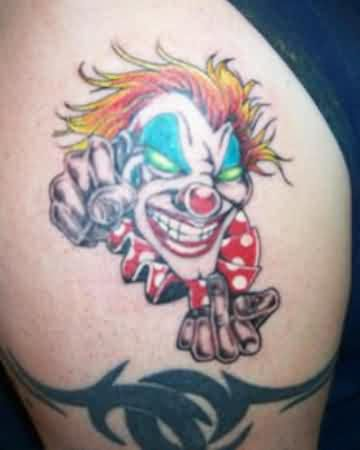 Green Eyed Clown Tattoo