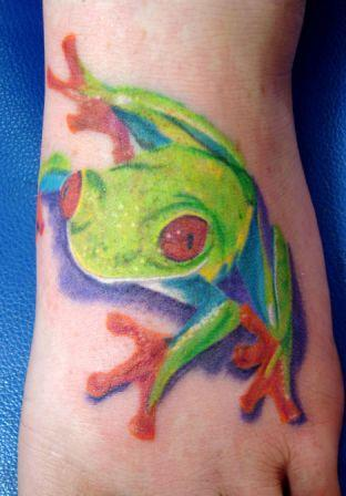 Green Frog Tattoo On Foot