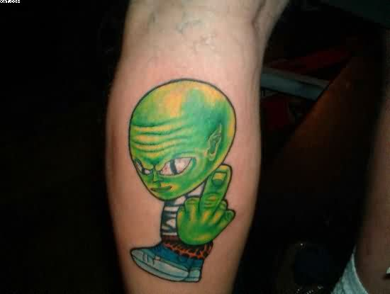 Green Ink Stylish Alien Tattoo On Leg