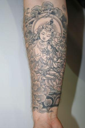 Grey Ink Buddha Tattoo On Forearm