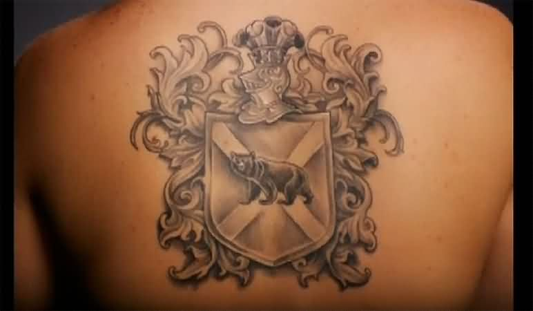Grey Ink Family Crest Tattoo On Back