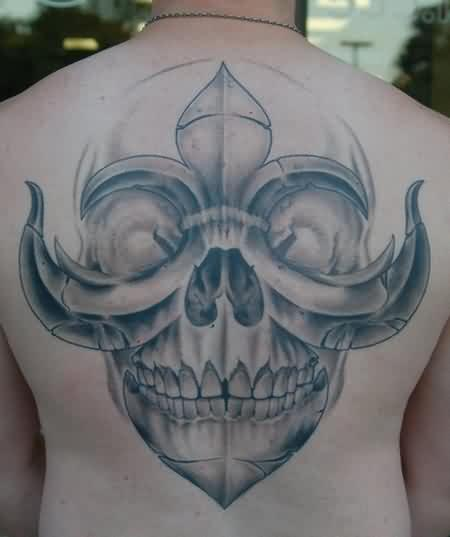 Grey Ink Fleur De Lis Skull Tattoo On Back