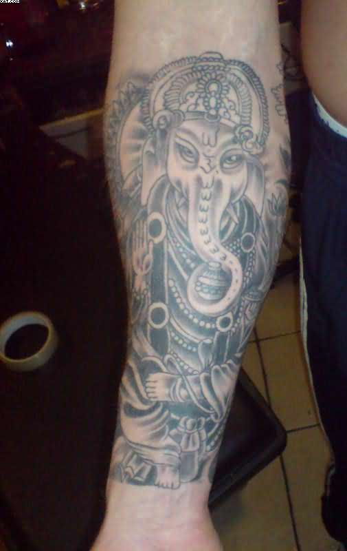 Grey Ink Religious Hindu Tattoo On Forearm