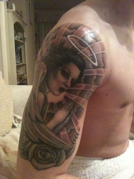 Half Sleeve Asian Lady Tattoo For Men