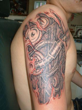Half Sleeve Biomechanical Tattoo For Men