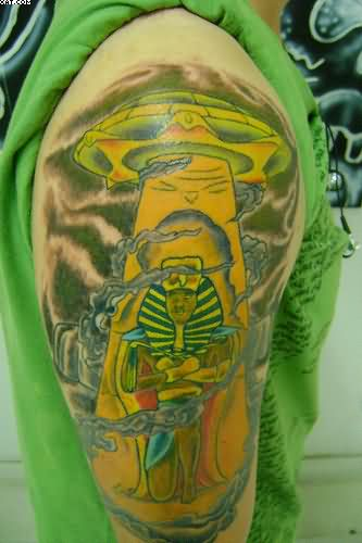 Half Sleeve Colorful Alien And UFO Tattoo Design