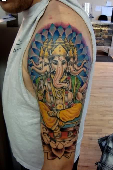 Half Sleeve Lord Ganesha Tattoo For Men