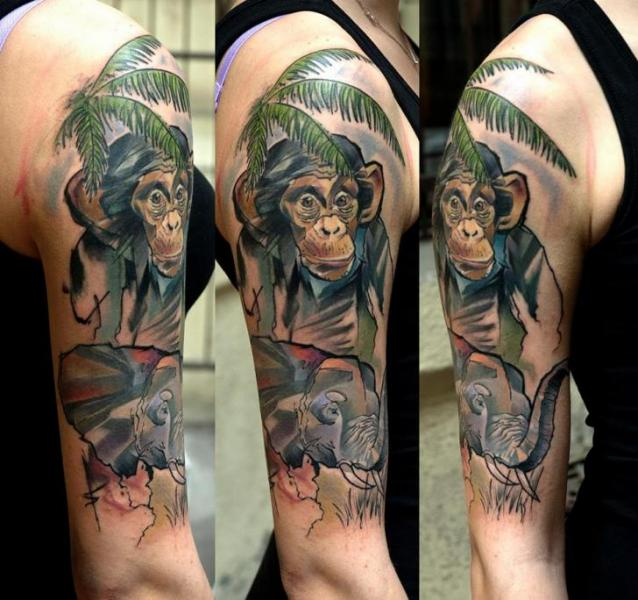Half Sleeve Monkey Elephant Tattoo On Arm