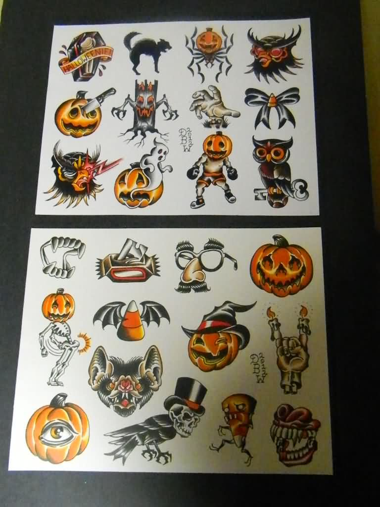 Halloween Traditional Tattoo Flash