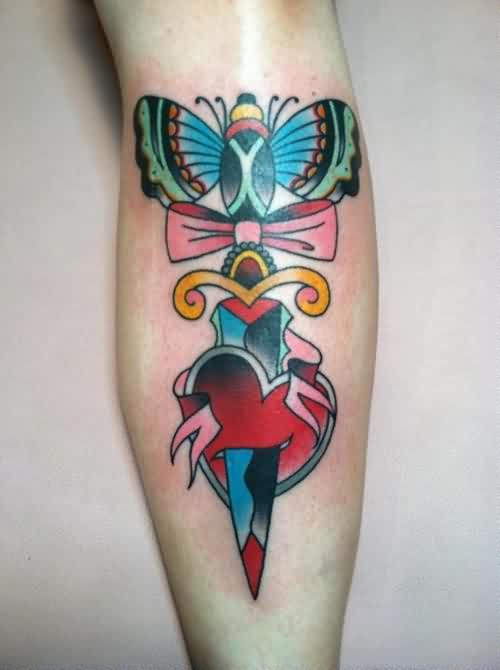 Heart Dagger With Pink Bow Tattoo On Leg