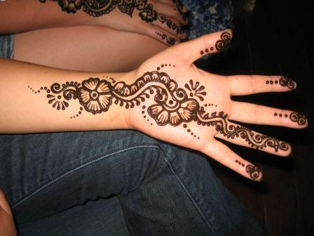 Henna Flower Tattoo On Hand