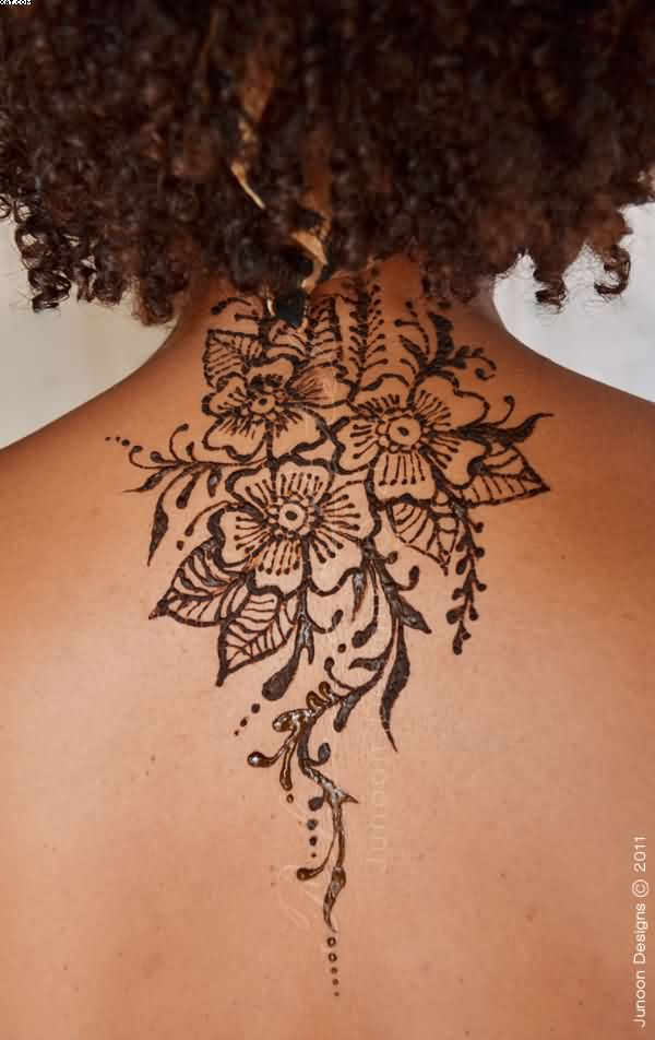 Henna Flowers Tattoo On Upper Back