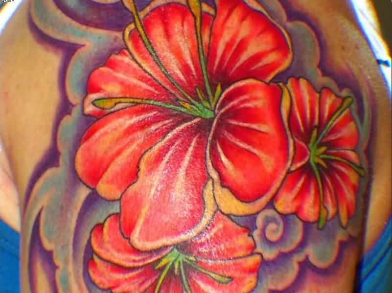 Hibiscus Flower Tattoo On Shoulder