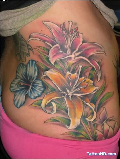 Hibiscus Flowers Tattoos On Rib Side