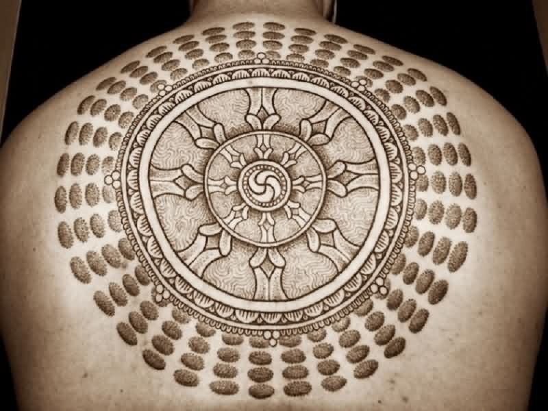 Holy Circle Tattoo On Back For Men