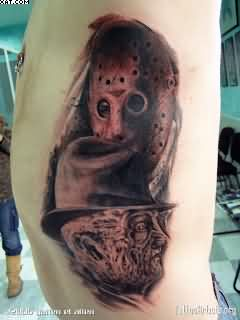 Horror Tattoos On Rib Side For Men