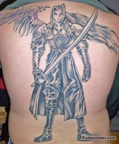 Huge Gothic Warrior Tattoo On Back Body