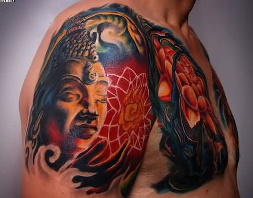 Impressive Buddhist Tattoo On Shoulder
