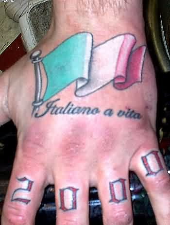 Italian Flag Tattoo For Your Hand
