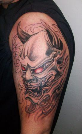 Japanese Demon Tattoo On Biceps