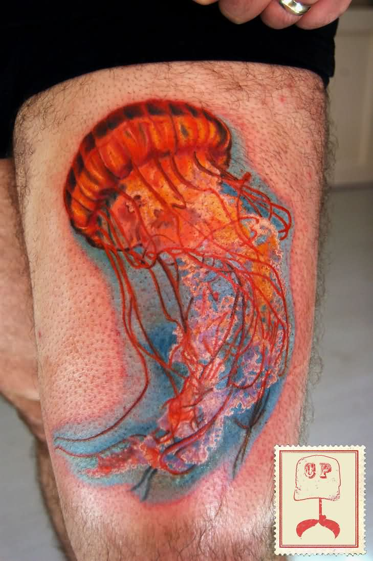 Jelly Fish Tattoo On Left Thigh