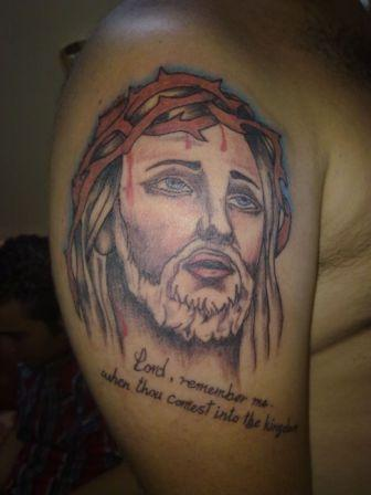 Jesus Christ Tattoo On Shoulder