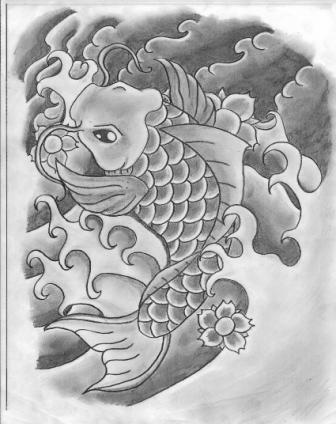 Koi Fish Tattoo Sketch