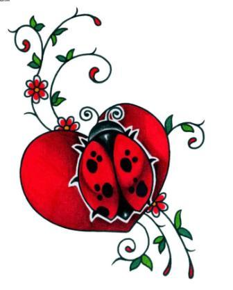 Lady Bug On Heart Tattoo Design